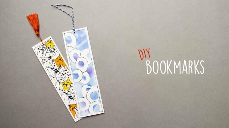 Segnalibri fatti a mano, cartoline dalla forma rettangolare con disegni colorati