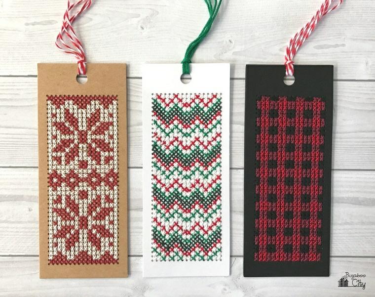 Tre segnalibri con cuciture di lana, segnalibri con nastri di filo di lana colorati