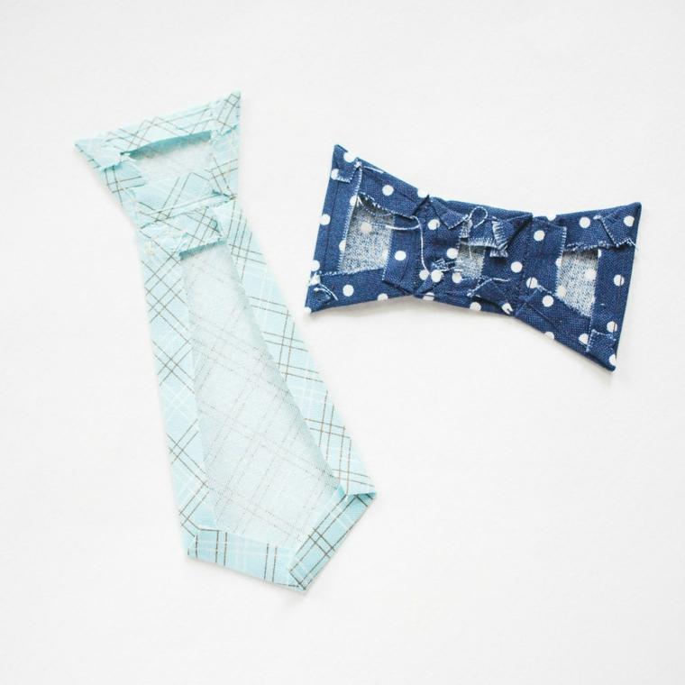 Cravatta e papillon di stoffa colorata, auguri per la festa del papà