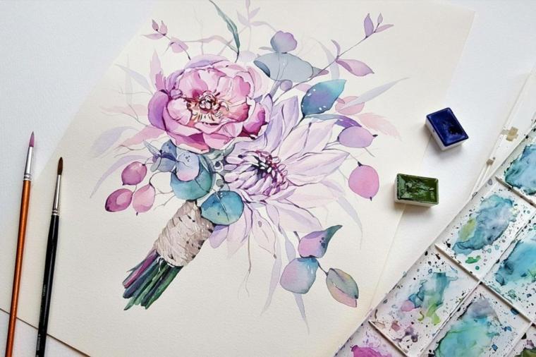 Disegno con colori ad acquarello con pennelli, disegno di un bouquet di fiori
