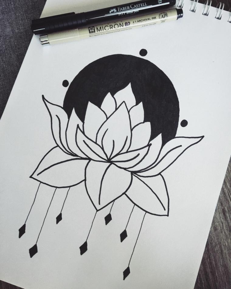 Disegni di fiori da colorare, disegno con penna nera di un fiore di loto