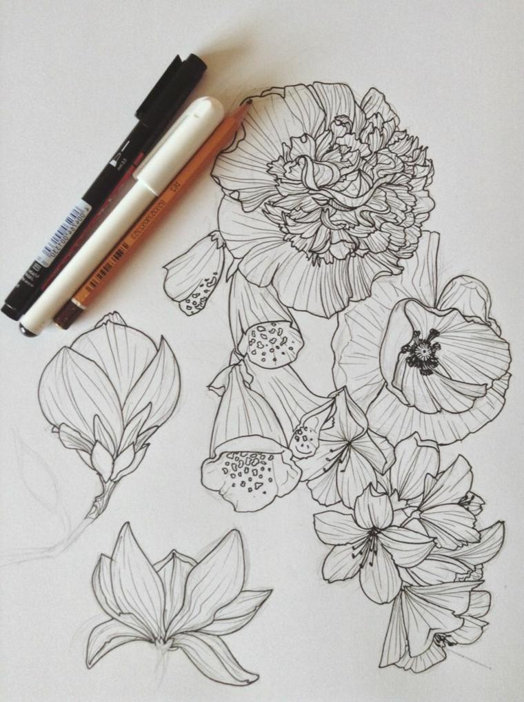 Fiore disegno da colorare, disegni a matita di fiori con petali arricciati