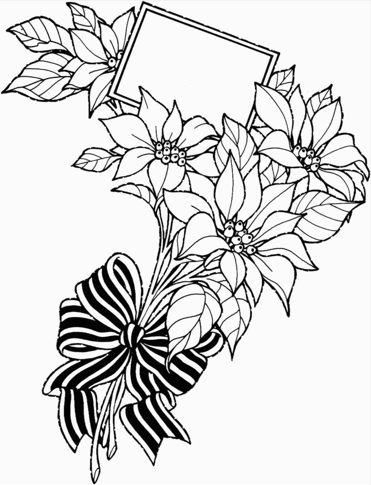 Fiori disegni da colorare, disegno di fiori con cornice e fiocco da colorare