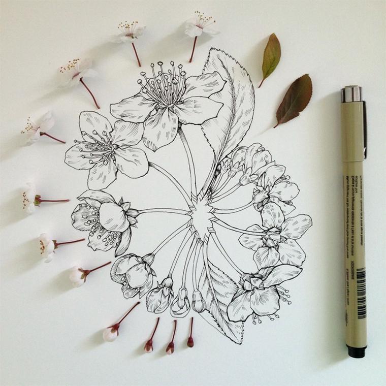 Disegni difficili da disegnare, disegno a matita di fiori di ciliegio e foglie verdi