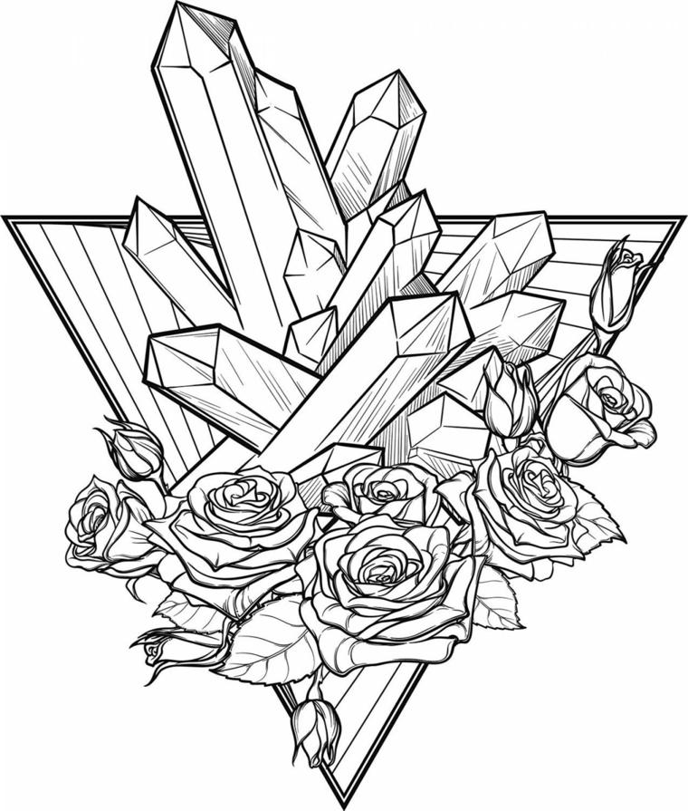 Disegni difficili da colorare, disegno a matita di rose e un triangolo con rocce