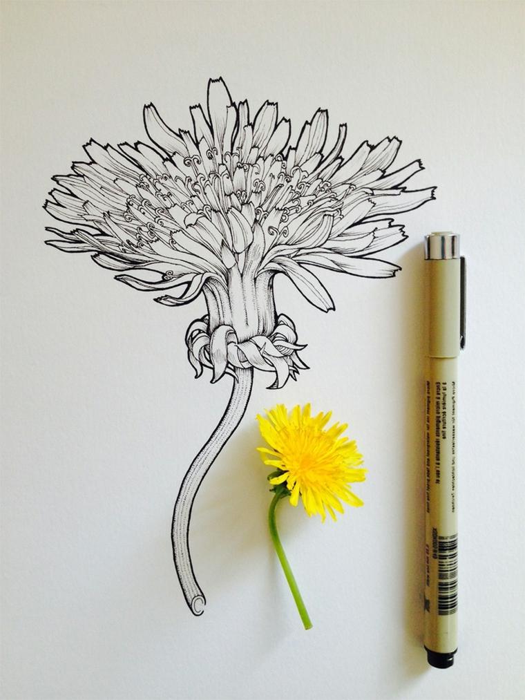 Fiori facili da colorare, disegno con penna nera di un fiore con petali di colore giallo