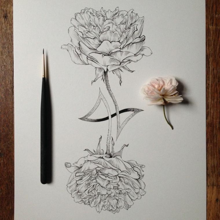 Fiori disegni da colorare, disegno fiore su un foglio bianco con matita