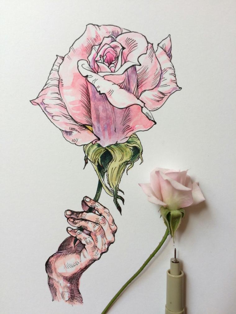 Fiore disegno da colorare, disegno di una mano che tiene una rosa colorata