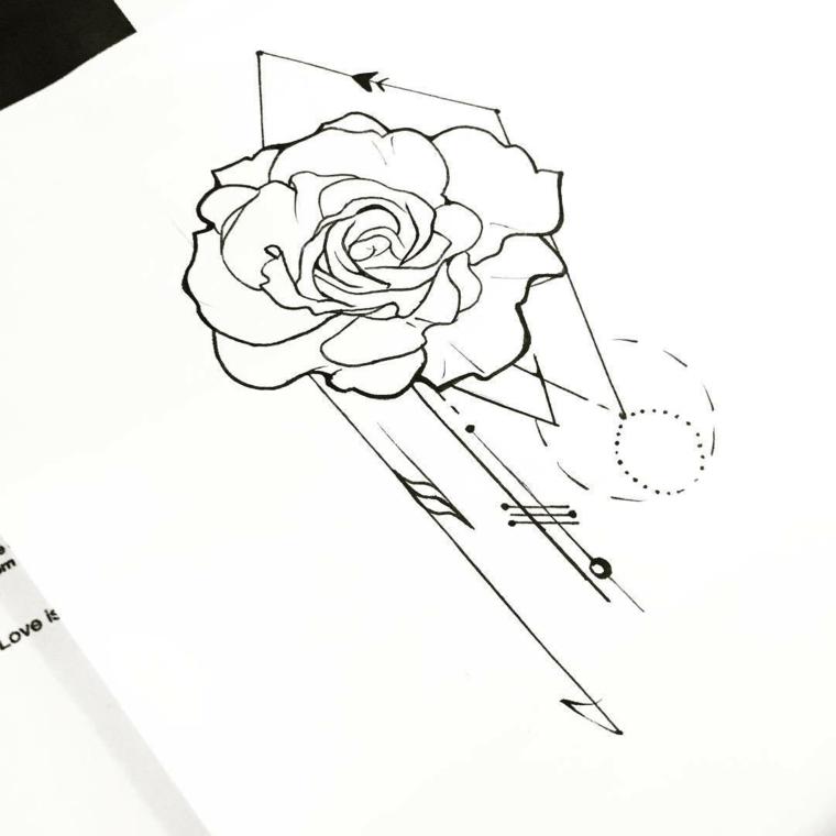 Fiori disegni da colorare, disegno di un fiore con figure geometriche