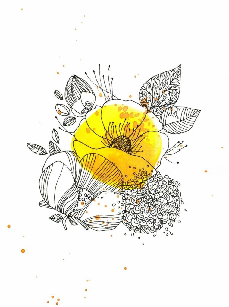 Disegni di fiori da colorare, disegno di un fiore con petali gialli e foglie