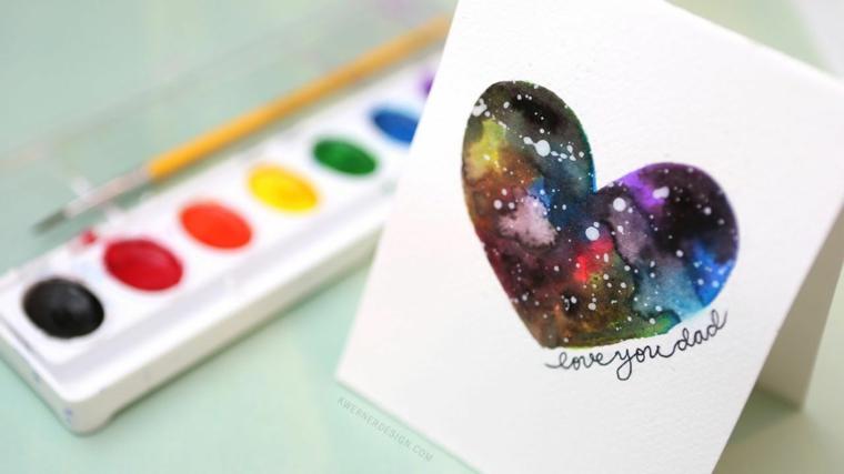 Biglietto festa del papà, cartolina con disegno di un cuore e scritta