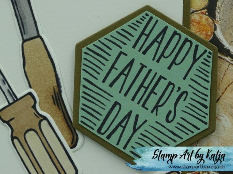 Cartolina stampata con scritta e strumenti, idea cartolina per la festa del papà