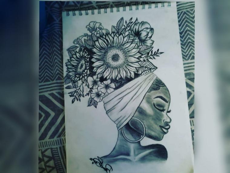Fiori facili da colorare, disegno di una donna con fascia e fiori nei capelli