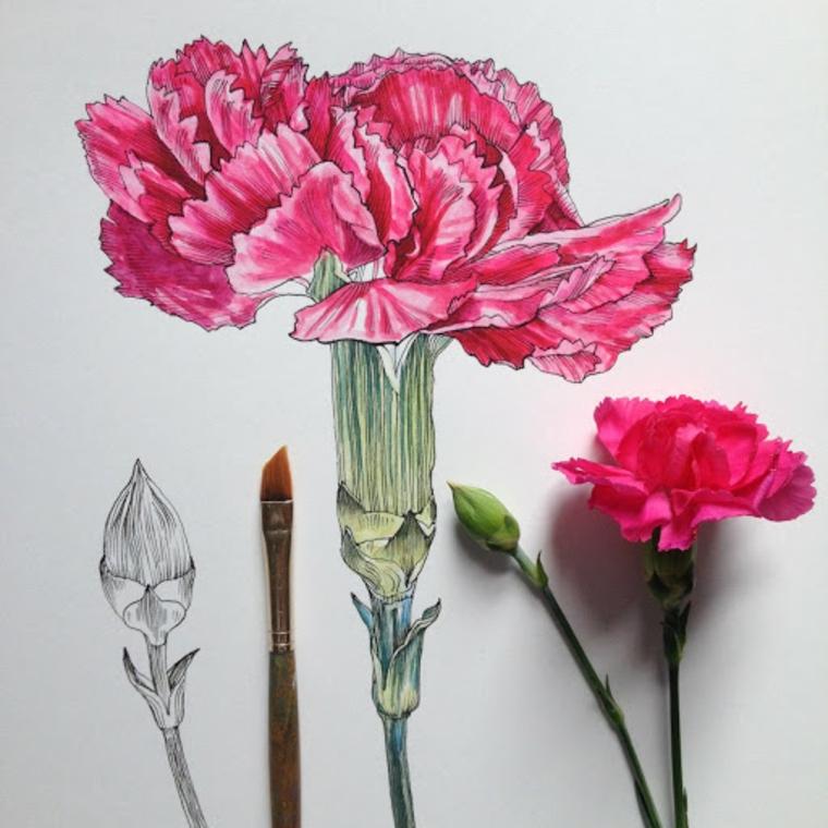 Disegni difficili da disegnare, disegno colorato di un fiore con petali rossi