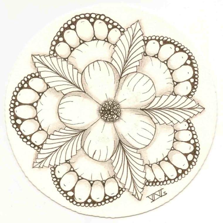 Disegni da colorare fiori, disegno di un fiori e foglie con ornamenti da colorare