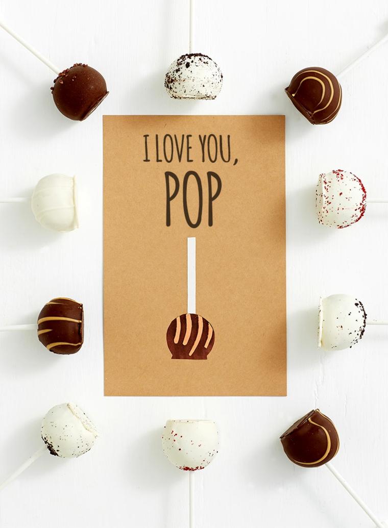 Disegni per la festa del papà, cartolina con scritta in inglese e disegno di caramella