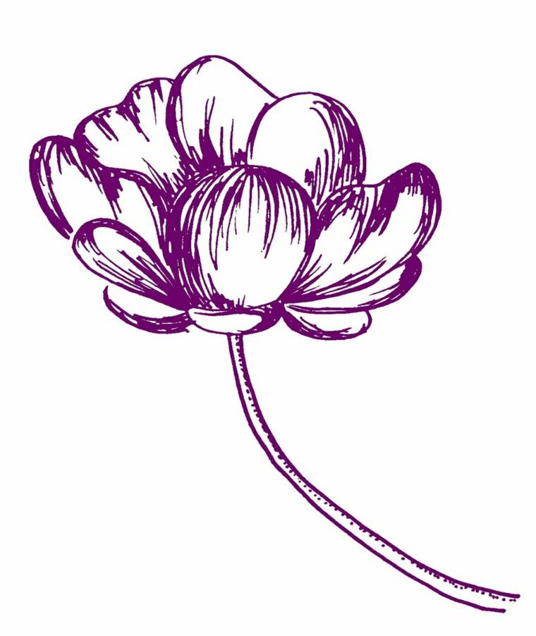Disegno di un fiore con pennarello viola, disegni da colorare fiori