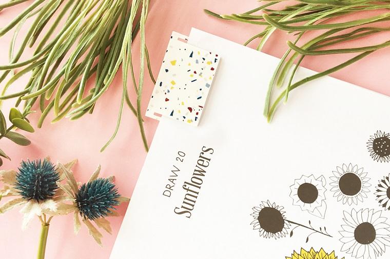 Disegno a matita di girasoli, foglie verdi di piante, segnalibro fai da te