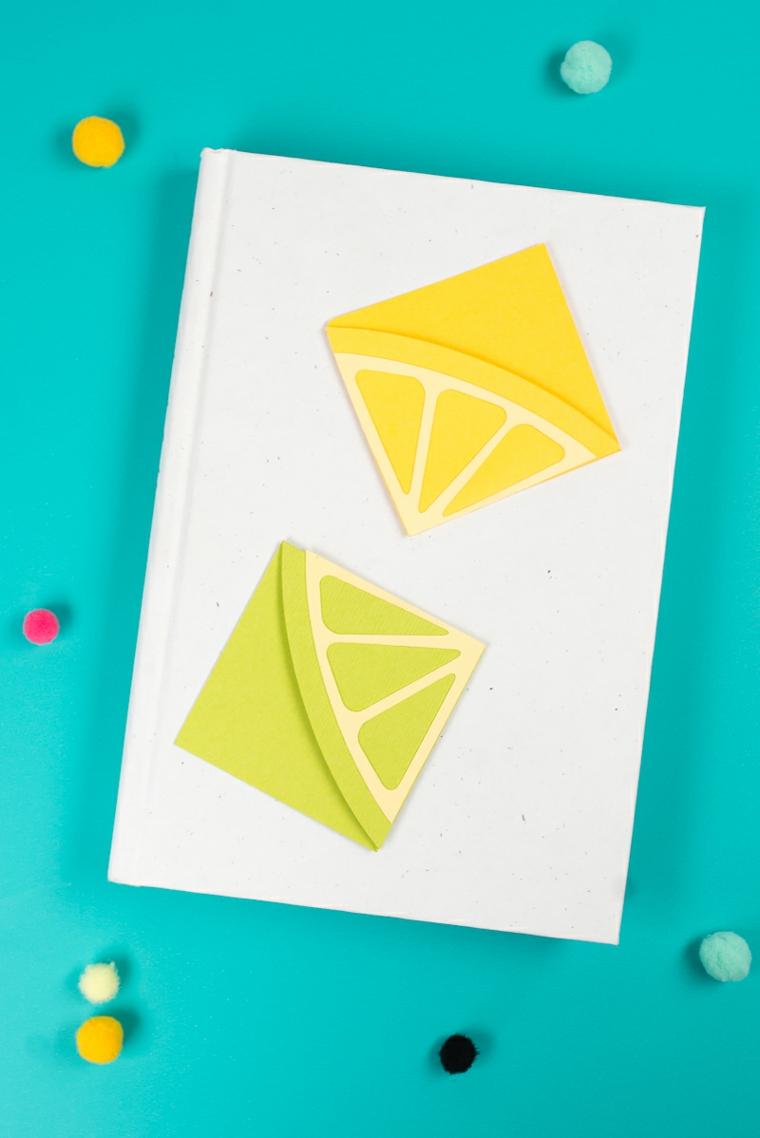 Libro con copertina rigida e segnalibro origami, segnalibro con carta disegno agrumi
