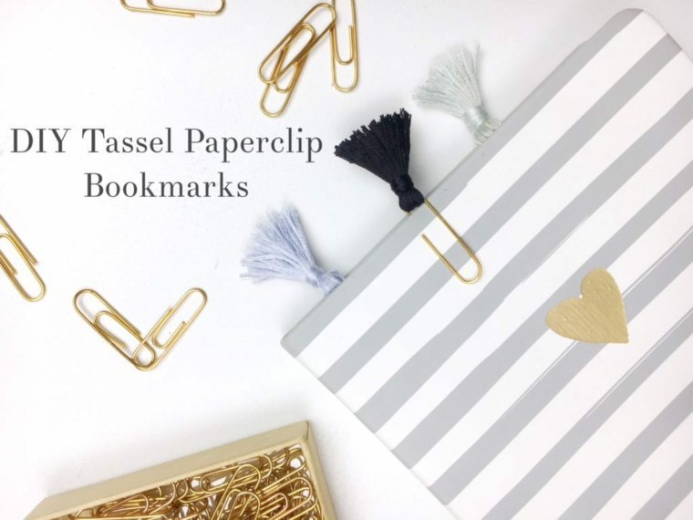 Segnalibro con fermagli per carta e nappe, nappe di filo di lana colorato