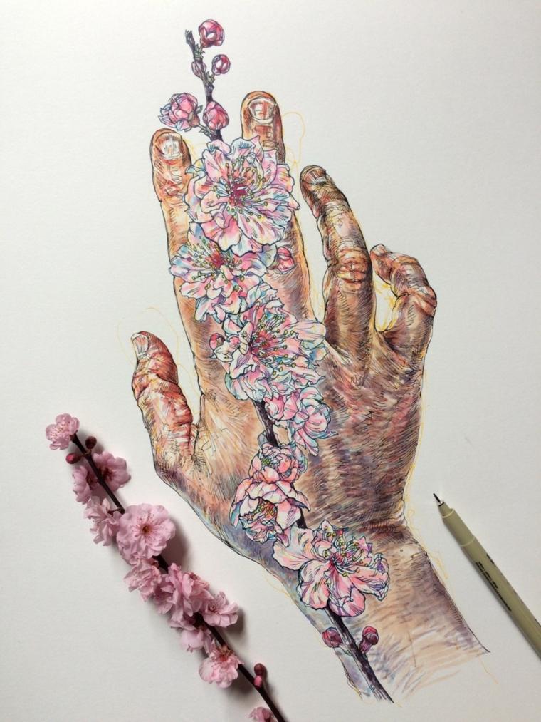 Disegni difficili da disegnare, disegno colorato di una mano con fiori colorati