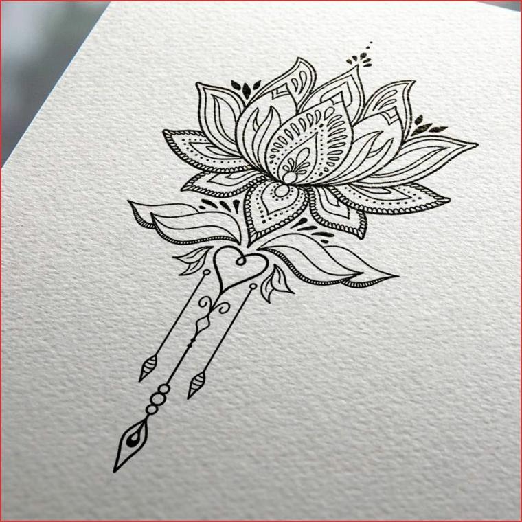 Disegno di un fiore di loto, disegno di mandala da colorare, disegno su foglio ruvido