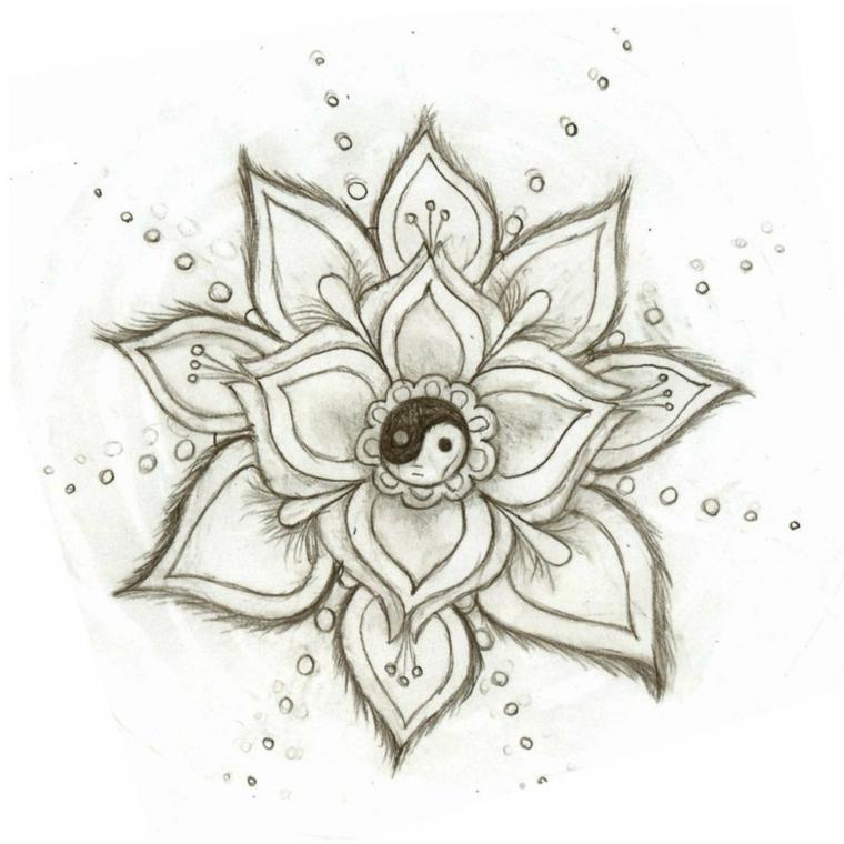 Disegno di un fiore di loto da colorare, fiori da colorare per adulti
