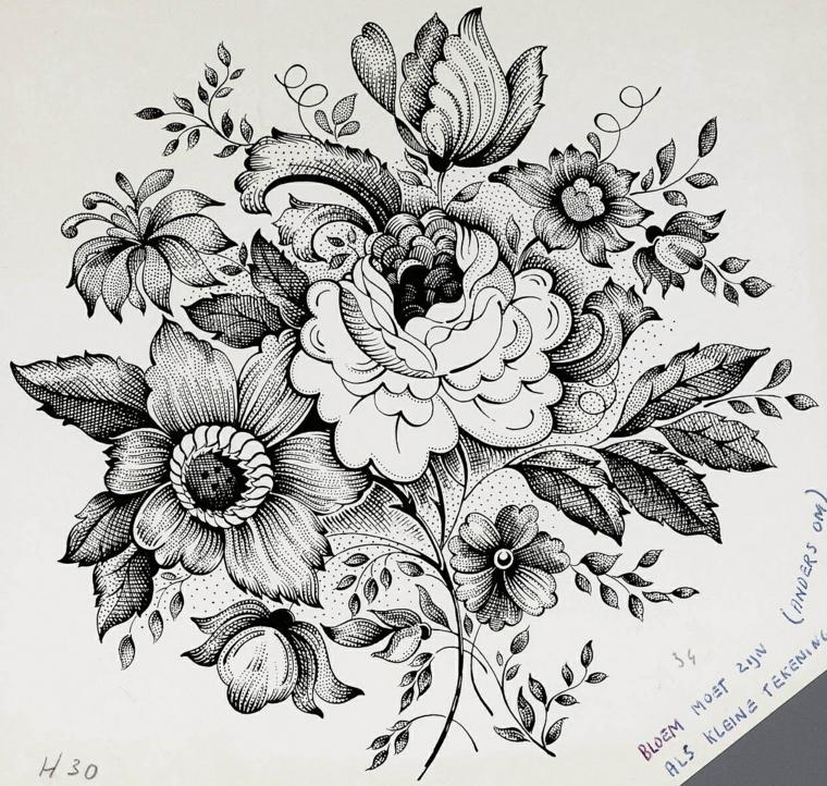 Fiori da colorare, disegno a matita di un bouquet di fiori con petali e foglie