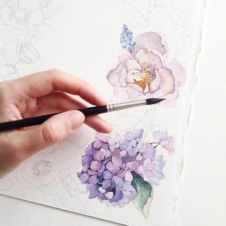 Fiori da colorare, foglio ruvido con disegno di fiori, colorare con pennello e colori ad acquarello