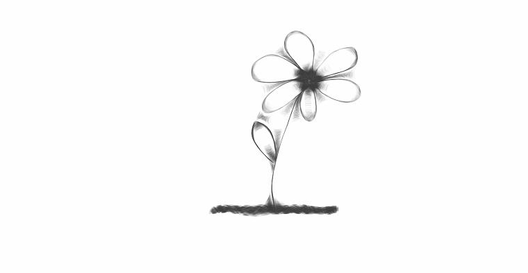 Disegno a matita di un fiore con petali, disegno per bambini da colorare