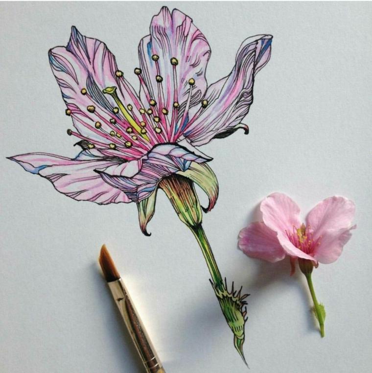 Fiori da colorare, disegno con pennello di un fiore con petali e pistilli gialli