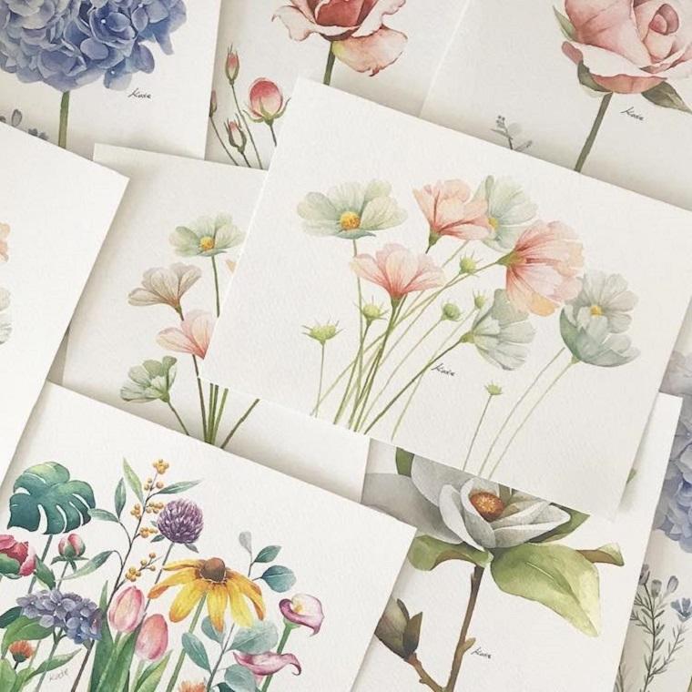 Fiore disegno da colorare, fogli bianchi con disegni colorati di fiori