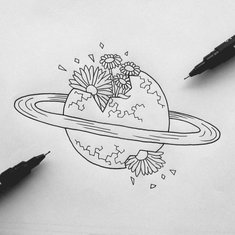 Fiori facili da colorare, disegno con penna a sfera di un pianeta con fiori
