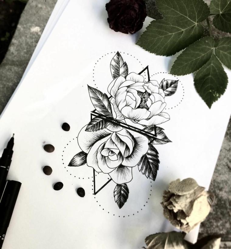 Disegni di fiori da colorare, disegno mandala da colorare con fiore di loto e triangoli