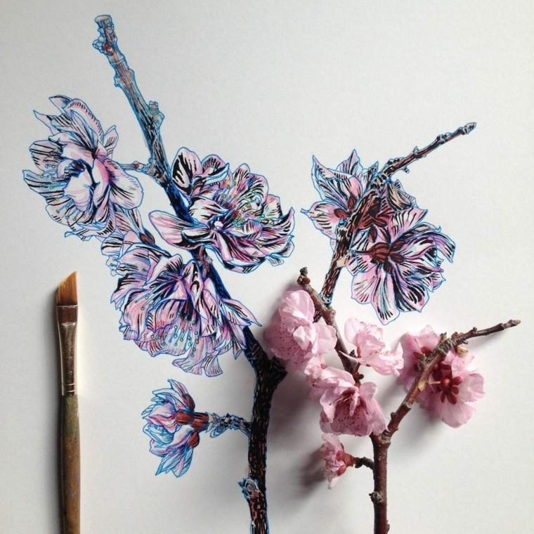 Disegni da colorare fiori, disegno colorato con pennello di un rametto con ciliegio fiorito