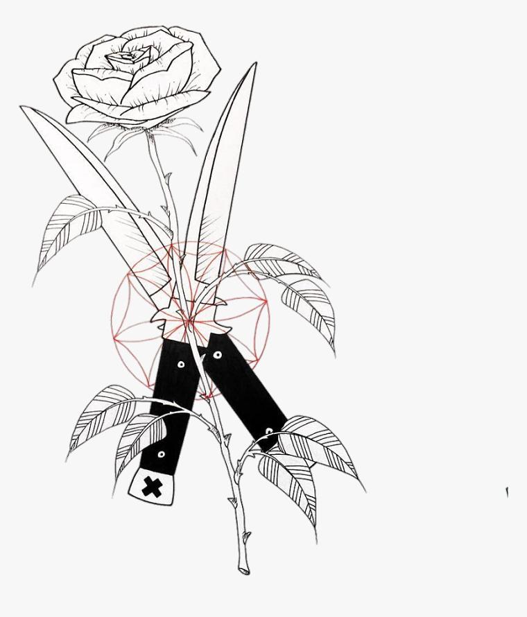 Disegno per adulti da colorare, disegno di un rosa e coltelli che tagliano