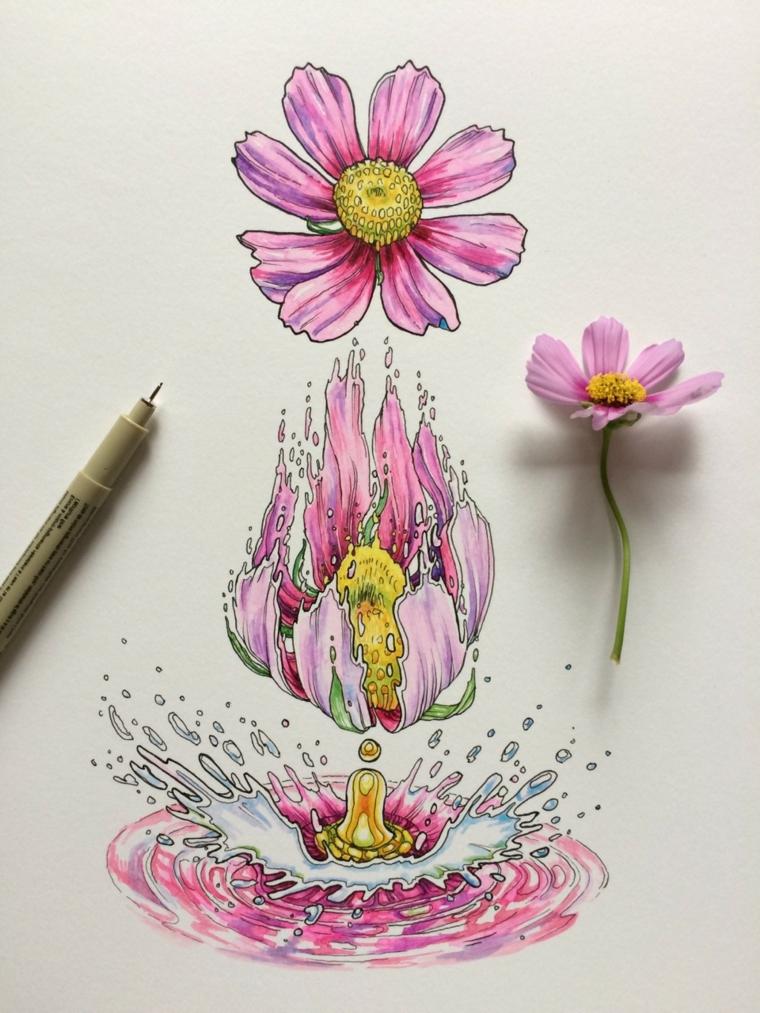 Disegni di fiori da colorare, disegno con penna di un fiore con petali rosa