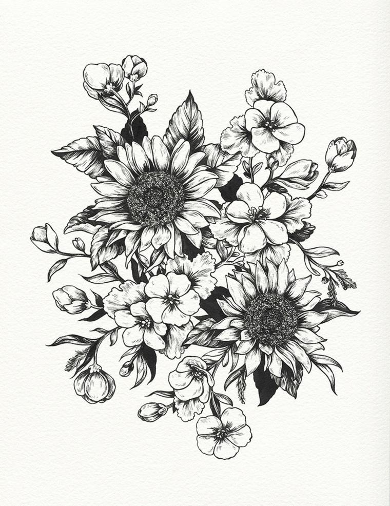 Disegno di un bouquet di fiori con foglie, disegno a matita da colorare