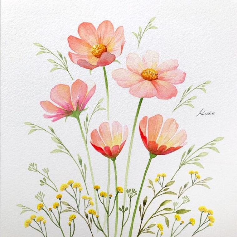 Disegno di fiori su un foglio da disegno ruvido, fiori da colorare