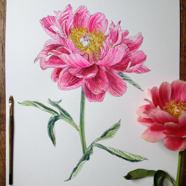 Fiori da colorare per adulti, disegno di un fiore con petali di colore rosa e pistilli gialli
