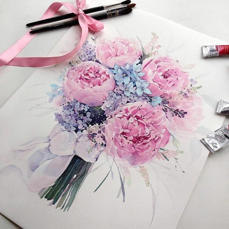 Disegni di fiori da colorare, disegno di un bouquet di fiori con colori acrilici