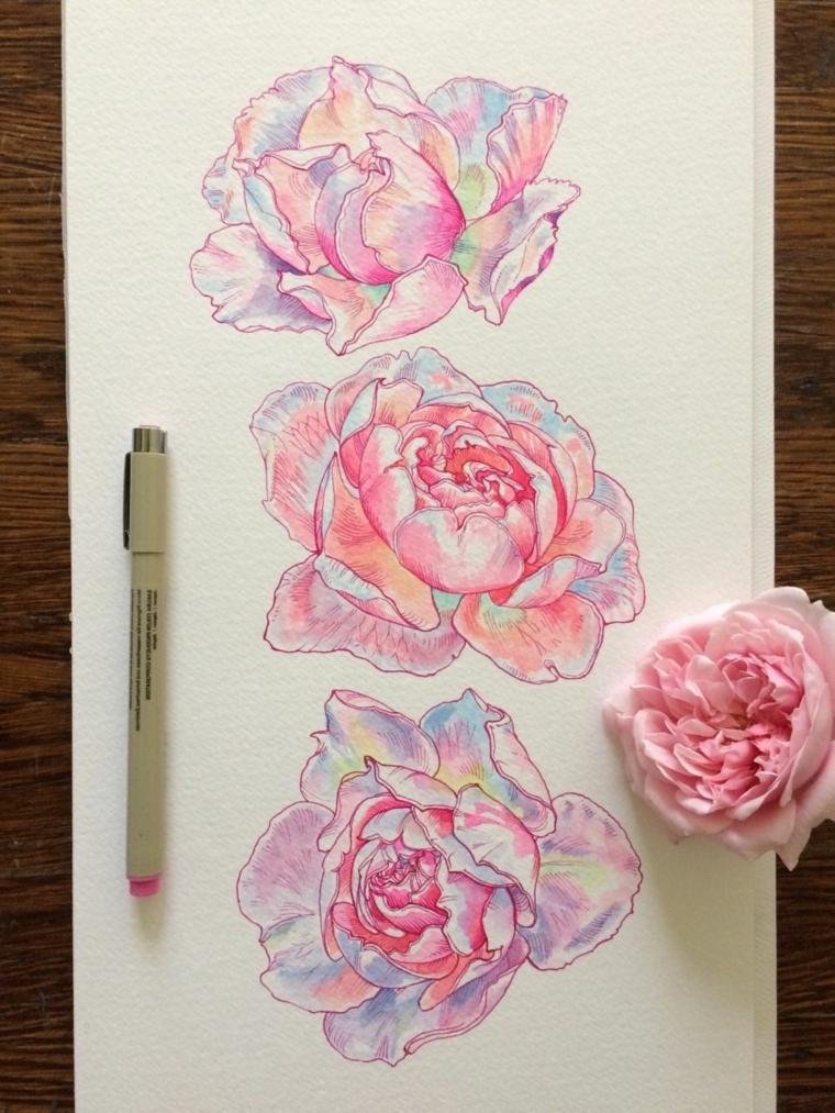 Disegno di tre rose con petali di colore rosa, fiori facili da colorare