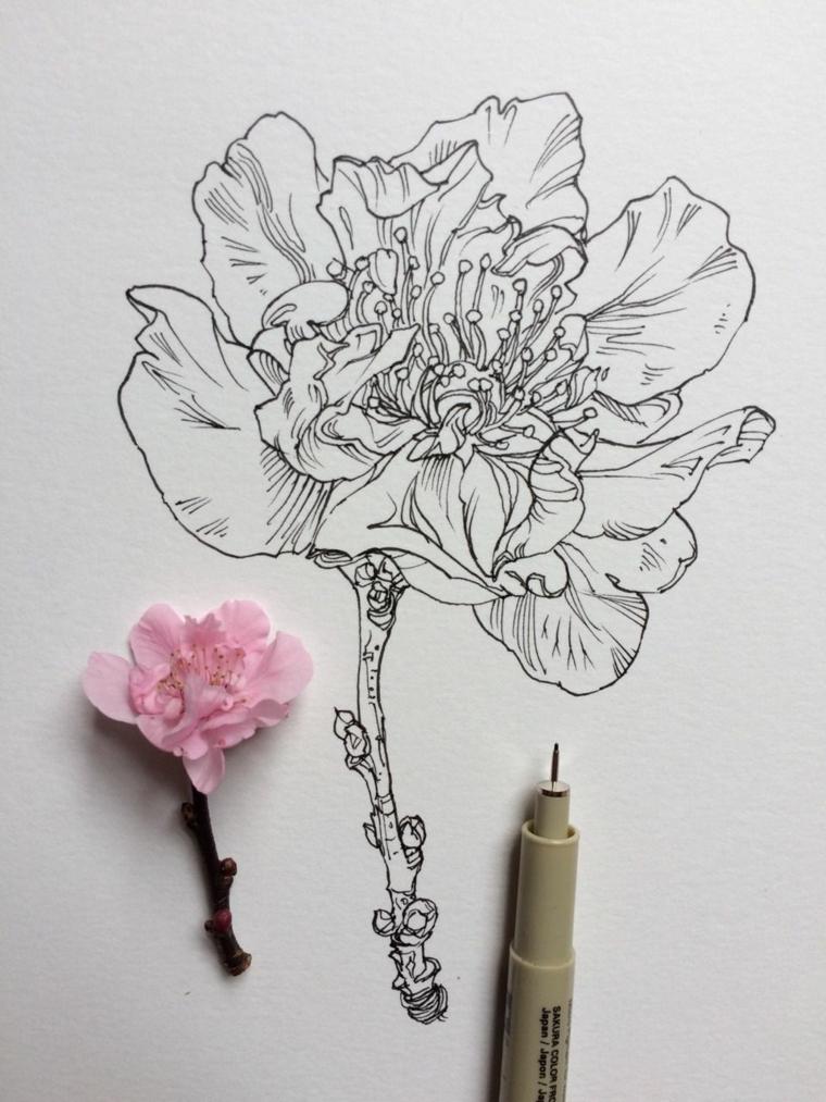 Disegni difficili da disegnare, disegno con penna nera di un ciliegio fiorito