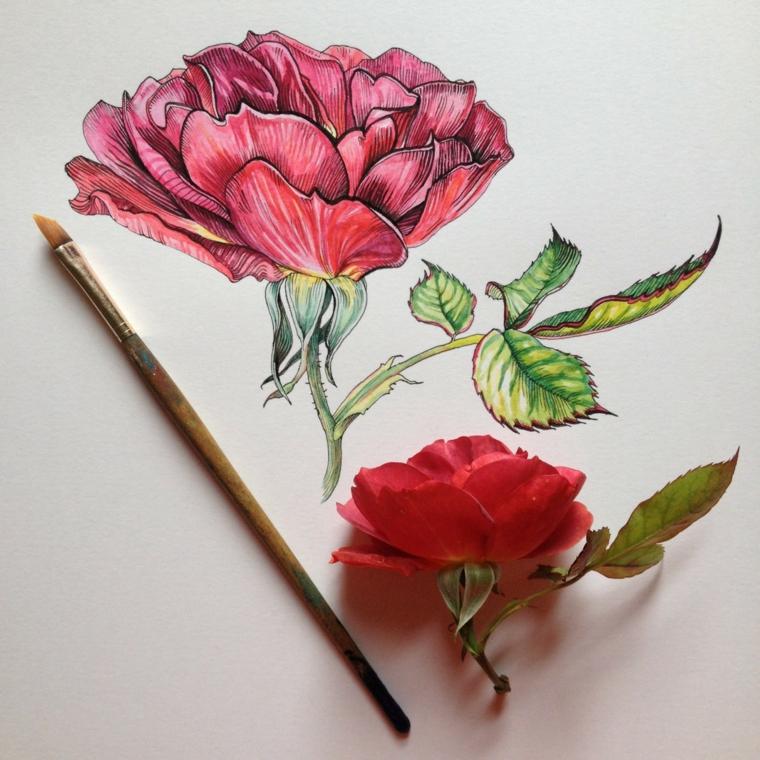 Fiori da colorare per adulti, disegno colorato con pennello di un fiore con petali