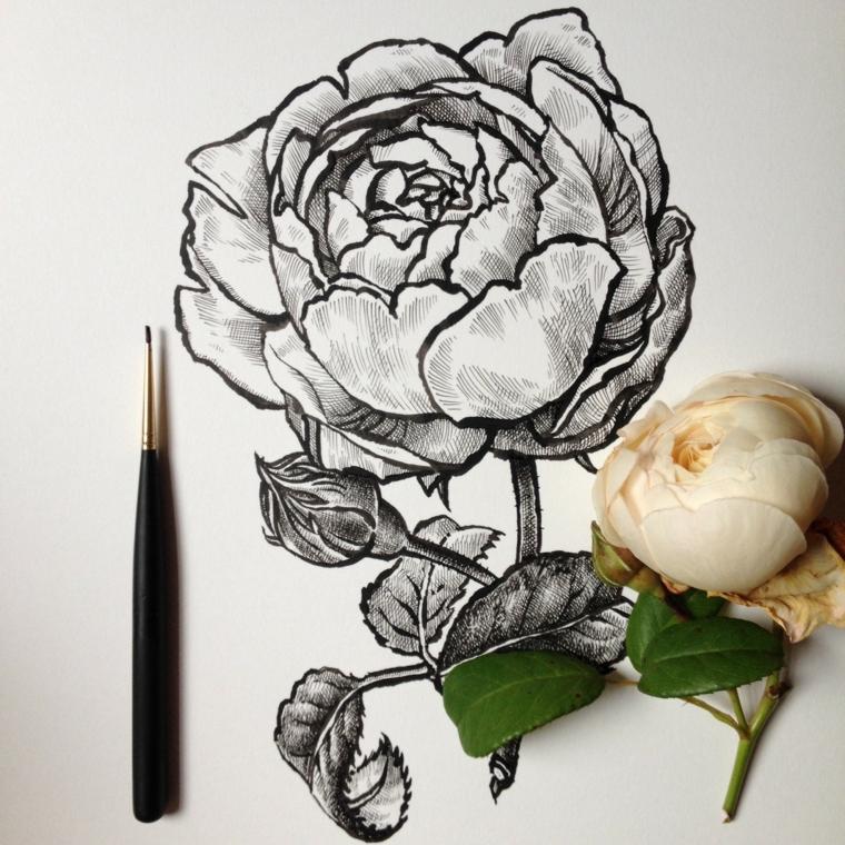 Disegno a matita con sfumature di un fiore, fiori da colorare per adulti