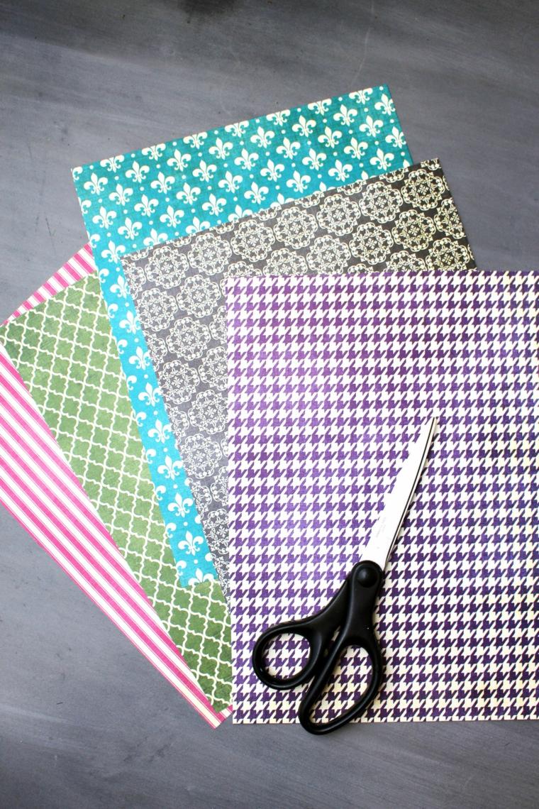 Materiali per cartolina origami, fogli di carta colorati con forbici, biglietti per la festa del papà
