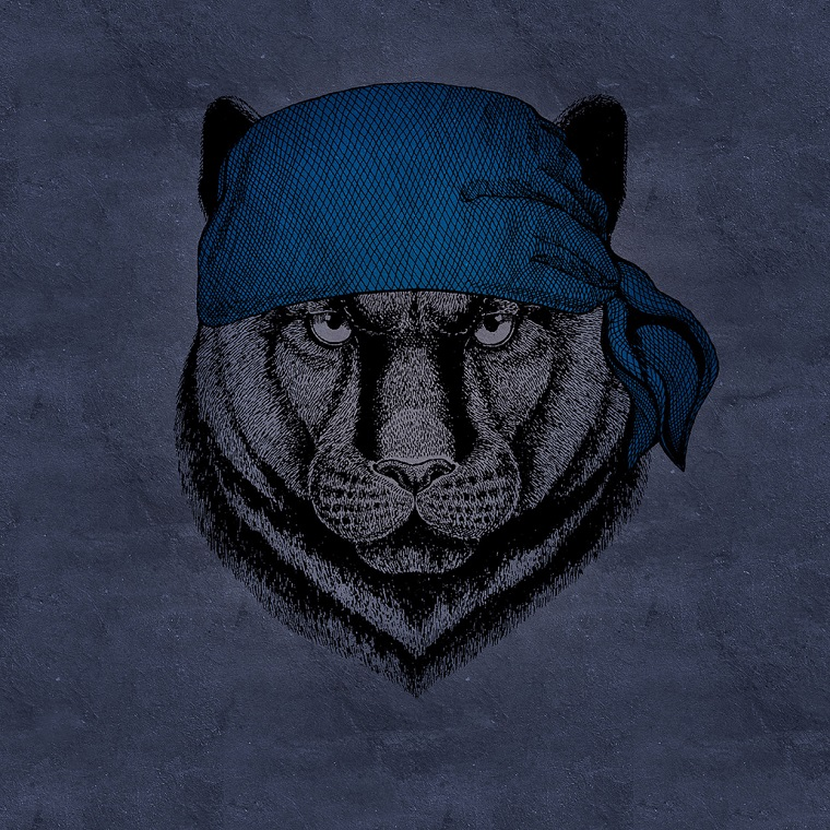 Fotomurali con disegni, poster con disegno di una tigre con bandana blu