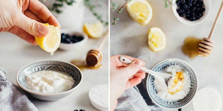 Maschera purificante fai da te, piattino con yogurt e succo di limone, miscela con miele