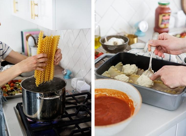 Donna che butta la pasta in pentola, teglia con lasagne, primi piatti estivi
