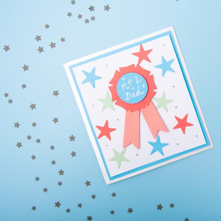 Disegni per la festa del papà, cartolina con disegni di stelle e medaglia con scritta